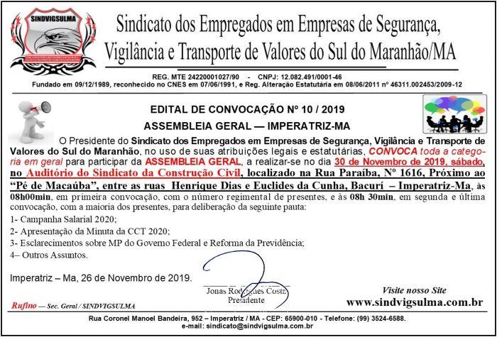 Edital Convocação 10-2019